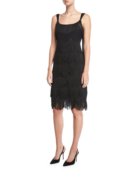 Sleeveless Scalloped Fringe Cocktail Dress, Black