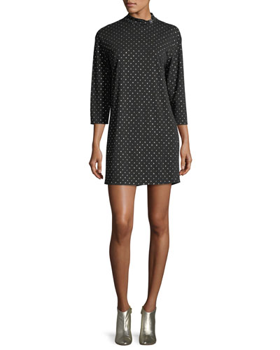 Mock-Neck 3/4-Sleeve Polka-Dot Dress