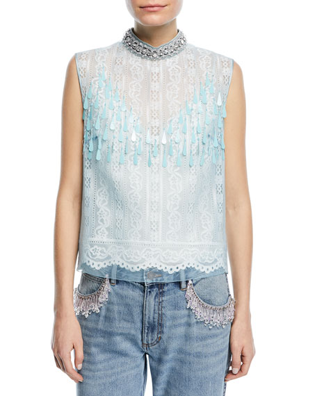 Sleeveless Embellished-Neck Lace-Front Top