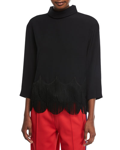 Scalloped Fringe-Trim Top