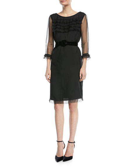 3/4-Sleeve Ruffled Sheath Dress w/Belt