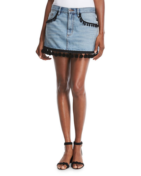 Pompom-Trim Denim Mini Skirt