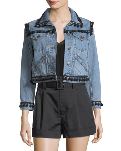 Pompom-Trim Denim Jacket
