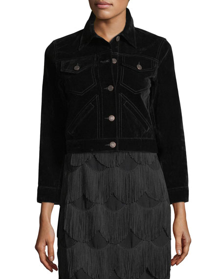 Cropped Velvet Button-Front Jacket