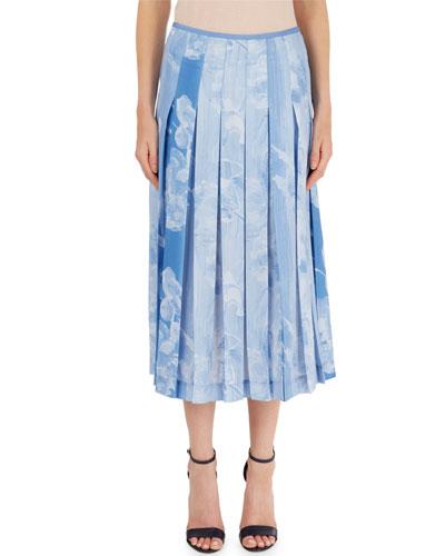Pleated Cloud-Print Skirt