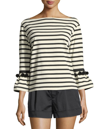 Breton-Stripe Pompom Boat-Neck Top