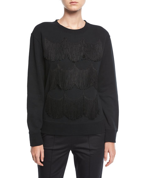 Scalloped Fringe Crewneck Sweatshirt