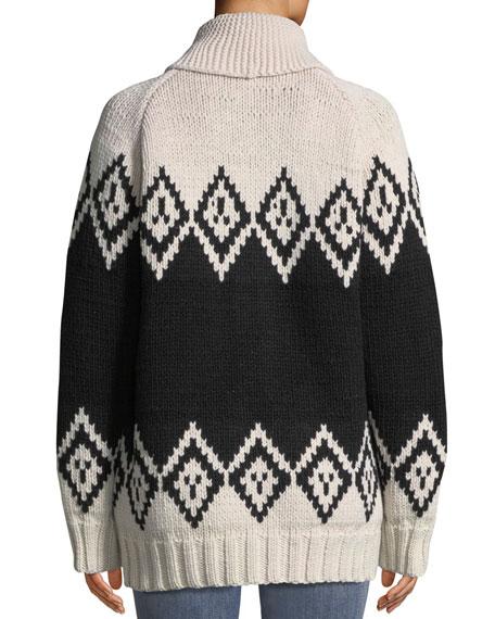 Zip-Front Oversized Wool Intarsia Sweater
