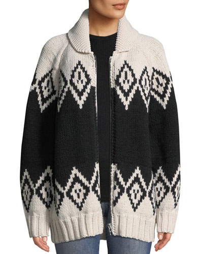 Zip-Front Oversized Wool Intarsia Sweater
