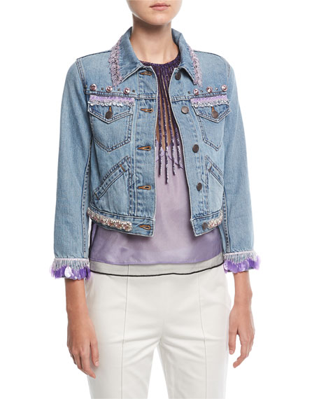 Shrunken Embellished Cropped Denim Jacket