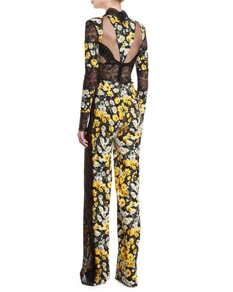 Daisy-Print Lace-Trim Jumpsuit