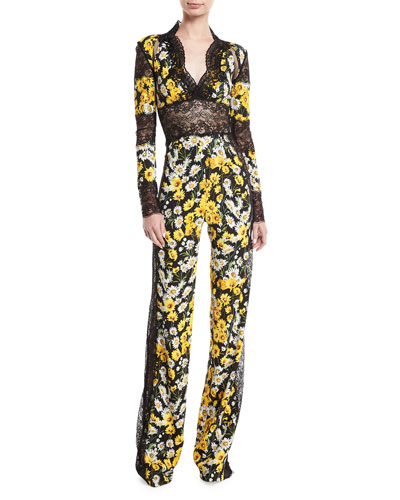 Daisy-Print Lace-Trim Jumpsuit