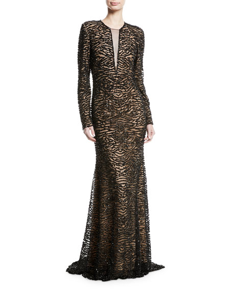 Beaded Long-Sleeve Illusion Gown