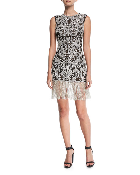 Sleeveless Beaded Damask Fitted Cocktail Dress
