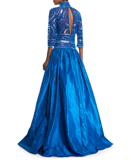 Stand-Collar Plunging Beaded-Bodice Ball Gown