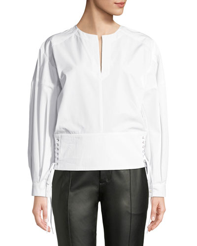 Split-Neck Poplin Lacing Blouse