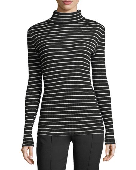 Striped Jersey Turtleneck Sweater