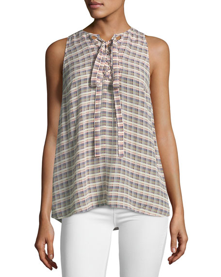 Lace-Up Sleeveless Top