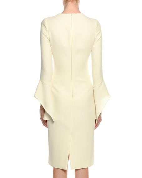 Bell-Sleeve Silk Sheath Cocktail Dress