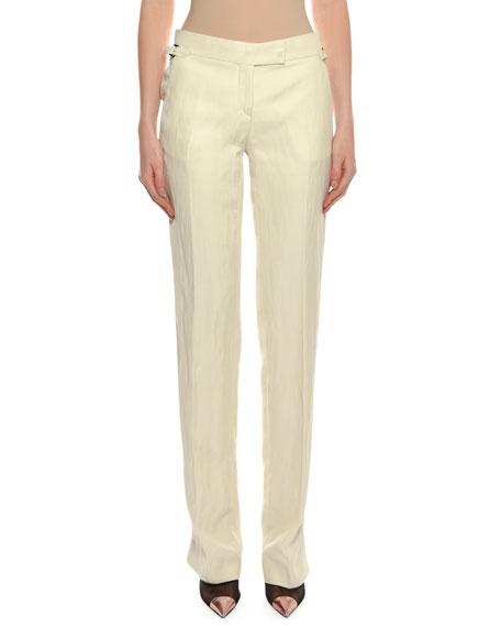 Straight-Leg Viscose-Linen Pants