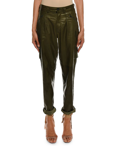 Cropped Leather Cargo Army Pants