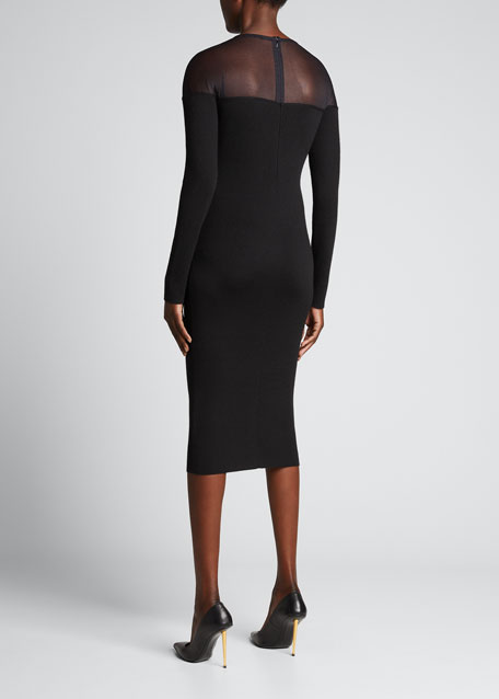 74cc3a663bb TOM FORD Round-Neck Illusion-Yoke Silk Knit Cocktail Dress