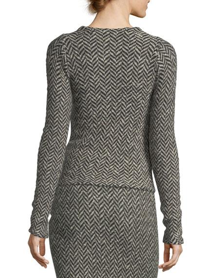 Long-Sleeve Herringbone Knit Sweater