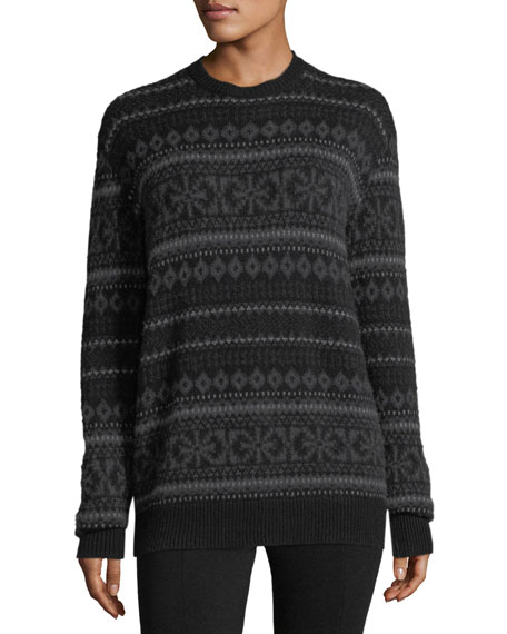 Fair Isle Crewneck Cashmere Sweater