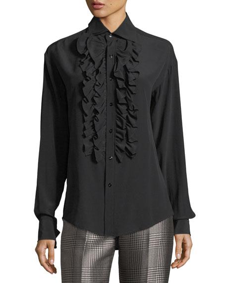 Andrei Ruffled Silk Blouse