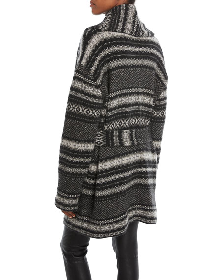 Fair Isle Shawl-Collar Cardigan
