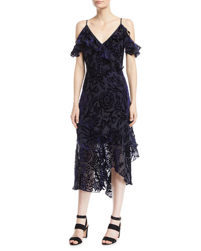 Sleeveless Flutter-Sleeve Velvet Devore Cocktail Dress