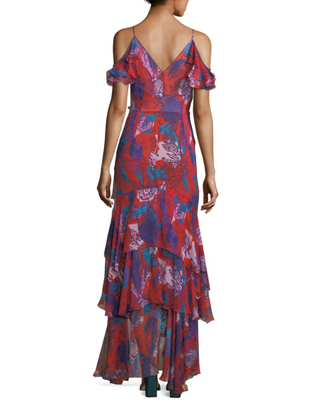 Ruffled Georgette Cold-Shoulder Gown