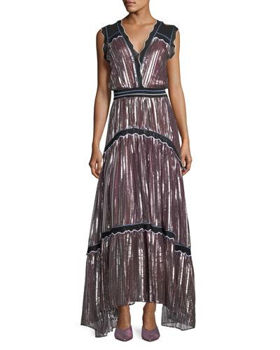 Metallic Pleated Chiffon V-Neck Gown