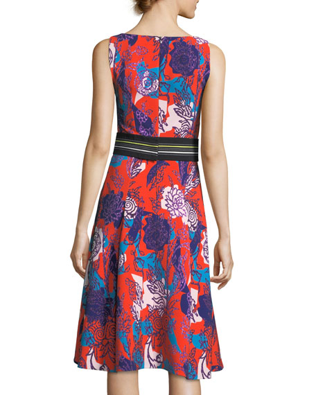 Sleeveless Floral-Print Cady Dress