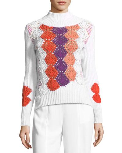 Crocheted Mock-Neck Sweater