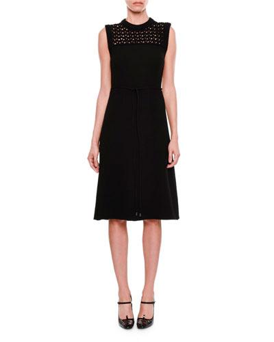 Sleeveless Crocheted-Yoke Dress