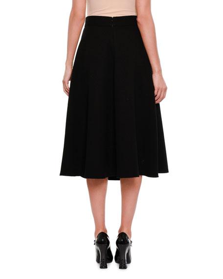 Crepe A-Line Midi Skirt