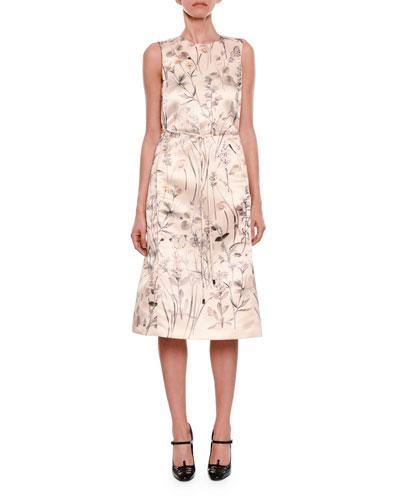 Sleeveless Floral-Print Satin Dress