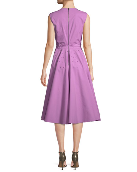 Sleeveless Studded Tie-Waist Dress