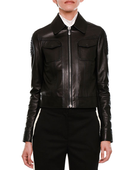 Leather Zip-Front Jacket