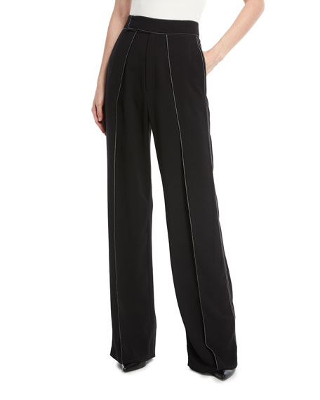 Contrast Stitched Pleated Pants