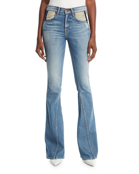 Flared Curve-Seam Denim Jeans