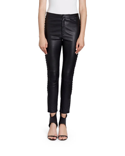 Cropped Leather Side-Lace Pants