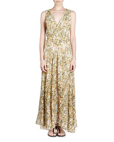 Sleeveless Floral-Print Maxi Dress