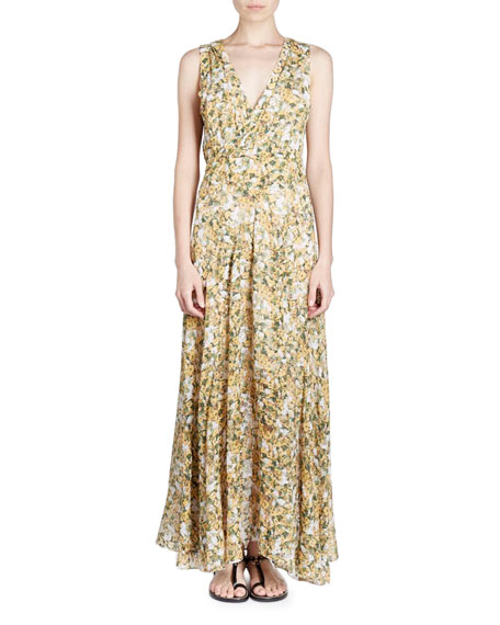 Flessy Sleeveless Floral-Print Maxi Dress