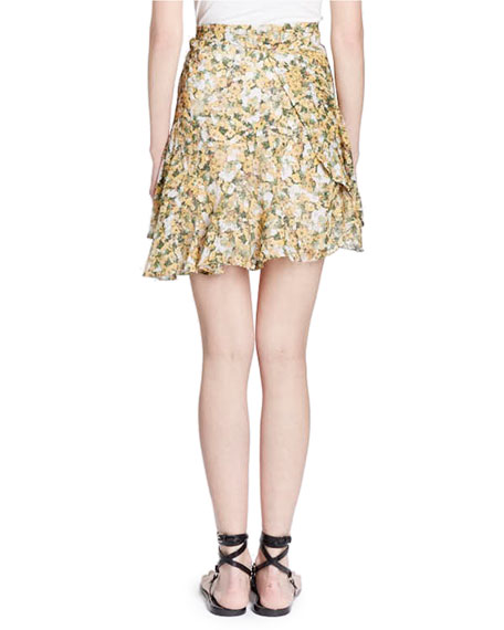 Ferna Floral-Print Chiffon Wrap Skirt