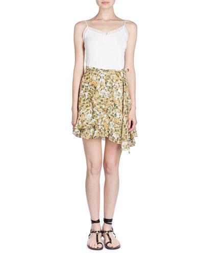 Floral-Print Chiffon Wrap Skirt