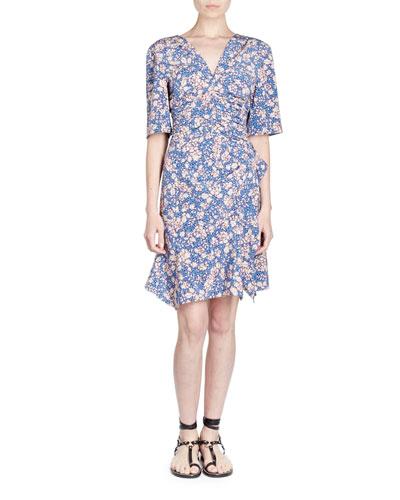Half-Sleeve Floral-Print Dress