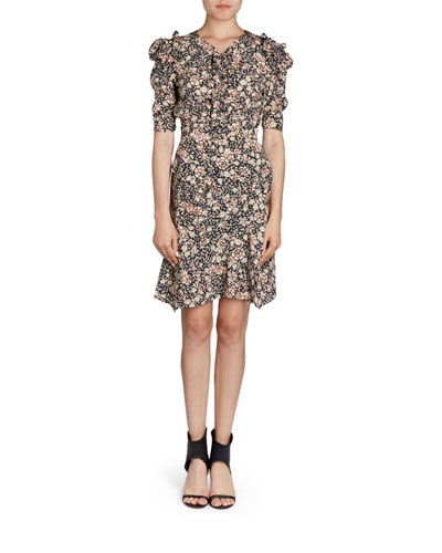 Puffed-Sleeve Floral-Print Dress