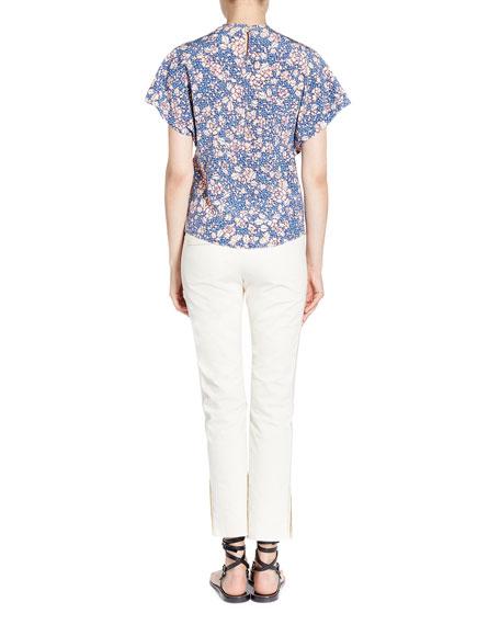 Baga Ruched Floral-Print Blouse
